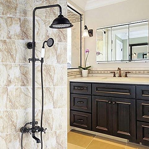 Jinyuze Luxe classique exposés Système de douche pluie Douchette avec ensemble de baignoire Bec en noir antique