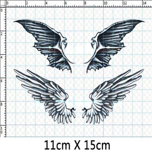 Set di 3 moda angel & demone ali del tatuaggio del corpo degli autoadesivi falsi tatuaggi temporanei