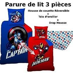 Avengers–Juego de cama (3pcs)–Funda de edredón (140x 200) + funda de almohada (63x 63) + sábana bajera (90x 190)–100% algodón–Estampado Mission