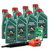 8x 1 L = 8 Liter Castrol Magnatec Diesel 5W-40 DPF Motor-Öl inkl. Ölwechsel-Anhänger und Einfülltrichter