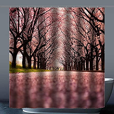 Coutume Peach Blossom 100% polyester usine Rideau de douche Shower Curtain, Polyester, D, 66x72(inches)