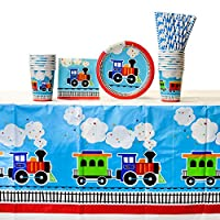 ‏‪All Aboard Train Party Supplies Pack for 16 Guests | 24 Straws, 16 Dessert Plates, 16 Beverage Napkins, 16 Paper Cups, and 1 Table Cover | Train Decorations for The Perfect Train Birthday Party‬‏