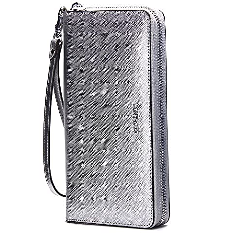 Contacts Genuine Leather Womens Card Holder Coin Clutch Purse Zipper