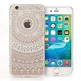 Yousave Accessories iPhone 6S / 6 Hülle Klare TPU Gel Hülle mit Weiß Mandala Aufgedrucktem Muster