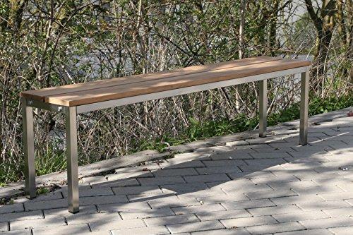 Sitzbank / Gartenbank BxTxH: 100x30x40cm, Edelstahl (für Wohnraum, Bank mit Echt-Holz, Gartenmöbel, Holzbank, Parkbank), Made in Germany (Marke: Szagato)