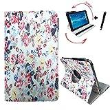 Archos 101c Platinum 10.1 zoll Drehbare Tablet Schutztasche mit Standfunktion + Touch Pen – 10 Zoll Rosen 360°