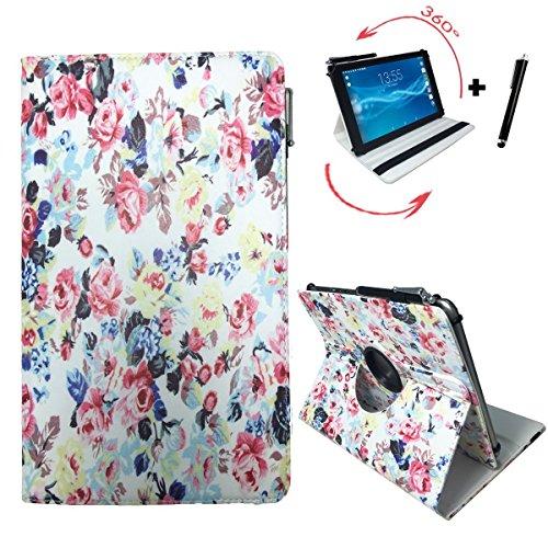 Street Hip Scanner (Tablet Tasche für Hip Street Phantom 2 Schutz Hülle Etui Case + Touch Pen – 10.1 Zoll Rosen 360_)