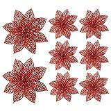 Turelifes Pack of 8 Glitter Poinsettia Artificiale Fiori per L'Albero di Natale 5.9 '' (15cm) Diametro (Rosso)