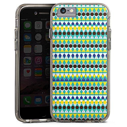 Apple iPhone 7 Bumper Hülle Bumper Case Glitzer Hülle Triangles Dreiecke Tribal Bumper Case transparent grau
