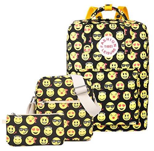 Imagen de tibes lona linda  emoji niños  bolso de escuela determinado 3pcs bolsos  amarillo 1