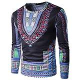 QIYUN.Z Beiläufiger Runder Hals Dashiki Hemden Traditionelle Afrikanische Lange Hülsenoberseiten