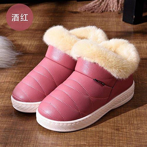 DogHaccd pantofole,Inverno pelle pu alta per aiutare uomini e donne rimanere impermeabile home paio di pantofole di cotone confezione con spesse, antiscivolo indoor scarpe di cotone Il vino è di colore rosso3