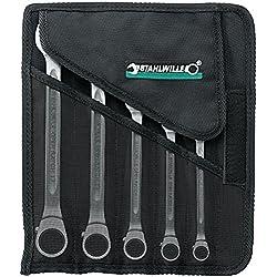 Stahlwille Ratschen Ringmaulschlüssel Satz OPEN RATCH; Textil Rolltasche; hohe Biegefestigkeit; 5-tlg - 96411705