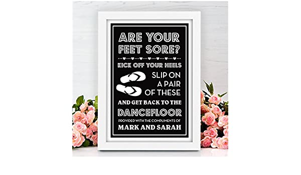 4592eacc214d Wedding Flip Flop Sore Tired Feet Sign - Dancing Shoes Personalised Wedding  Sign - Vintage Shabby Chic Style Wedding Sign - PERSONALISED Wedding Black  Board ...
