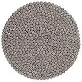 myfelt Carl Filzkugel-Tischset/Platzdeckchen, rund, Schurwolle, grau, Ø 36 cm