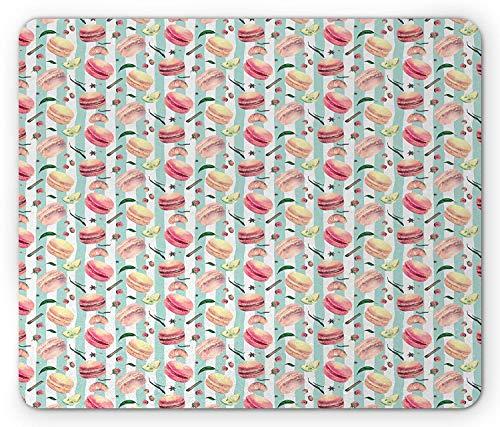 Retro Mouse Pad, Macarons Berries Lemons Oranges Leaves in Watercolors Hand Drawn Gourmet Deserts, Standard Size Rectangle Non-Slip Rubber Mousepad, Multicolor -