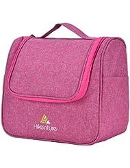 Hikenture® Kulturbeutel zum Aufhängen - Kulturtasche für Damen und Herren - Waschtasche Kosmetiktasche mit Haken für Reisen, Outdoor, Camping (Blau Schwarz Pink Grau)
