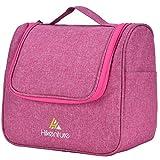 Kosmetiktasche zum Aufhängen von Hikenture - Waschtasche Reise für Damen und Herren - Kulturbeutel Kulturtasche mit Haken und Reißverschluss für Reisen, Outdoor, Camping (Pink)