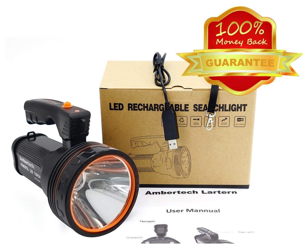 Ambertech Rechargeable 7000 Lumens Super Bright LED Searchlight Spotlight Flashlight Torch Lantern With Sharp Light 6