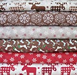 6x Brown/Red 100% Cotton Material pieces Christmas Brown