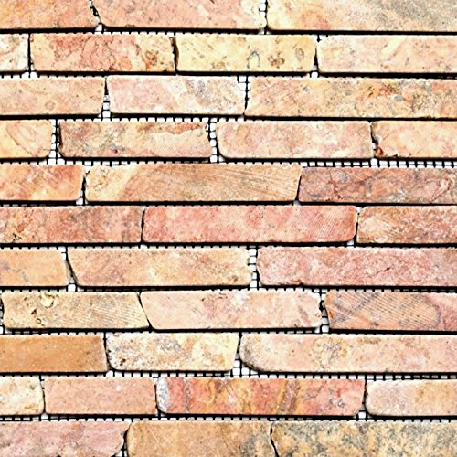 Brick-mosaik-fliesen-böden (Mosaik Fliese Marmor Naturstein rot Brick Rossoverona für BODEN WAND BAD WC DUSCHE KÜCHE FLIESENSPIEGEL THEKENVERKLEIDUNG BADEWANNENVERKLEIDUNG Mosaikmatte Mosaikplatte)
