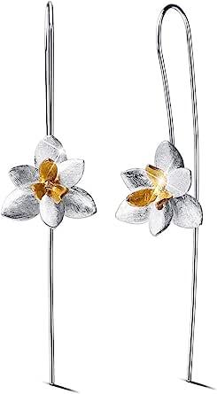 Lotus Fun - Orecchini da donna in argento Sterling 925 con orchidea, eleganti gioielli unici realizzati a mano, per donne e ragazze