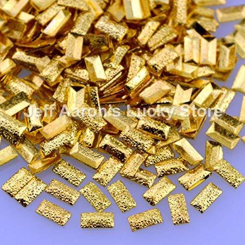 AiCheaX 500 STÜCKE gold silber satiniertes metall 3d nail art dekorationen rechteck ohrstecker schönheit nägel zubehör liefert neuheiten CFX - (Farbe: 4 MM gold)