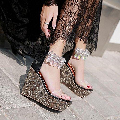 GTVERNH-estate nero solo scarpe l'esercitazione perle ricamati pendio con i sandali spesso fondo elegante temperamento una parola con le pantofole,37 Thirty-seven