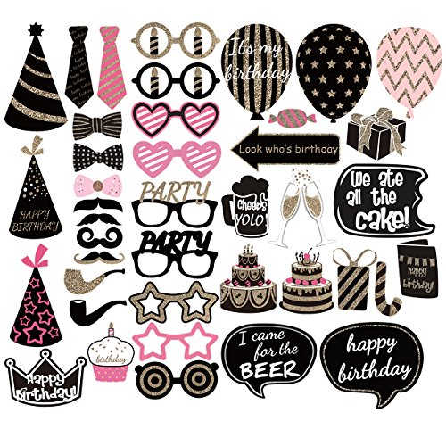 PBPBOX Geburtstag Photo Booth Props-Party-Bevorzugungs-Kit - 41 Count