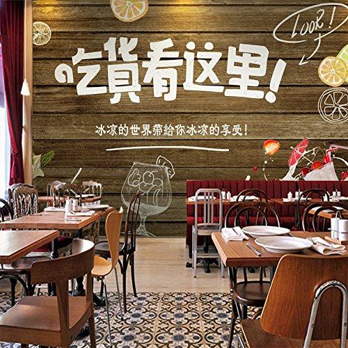 Holz Textur Tapete Retro Getränke Essen die Wallpaper City Restaurant/snack Milch Tee Shop Stadt Wallpaper, Stitching Threads von Stroh