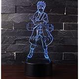 3D Lámpara óptico Illusions Luz Nocturna, CKWLED Tabla Lámpara de Escritorio 7 Colores Cambio de Botón Táctil y Cable USB par