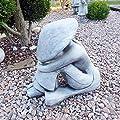 Chinese BUDDHA Reis Bauer Feng-Shui Büste Steinfigur Skulptur massiver Steinguss Farbe: grau / Patiniert von steinfiguren-neumann - Du und dein Garten