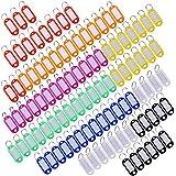 Etiquetas con Llaveros Llavero de Plastico con Etiquetas con Anillo Llavero, 100 Piezas