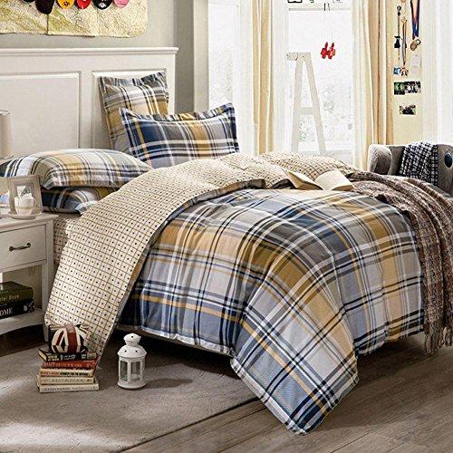 SHIQUNC Baumwolle 4 Stück Bettbezug-Sets,1bettbezug,1 bettwäsche,2 Kissenbezüge, 5, Königin -
