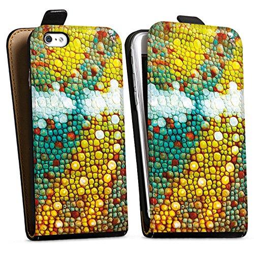Apple iPhone X Silikon Hülle Case Schutzhülle Chamäleon Muster Chamäleonhaut Look Downflip Tasche schwarz