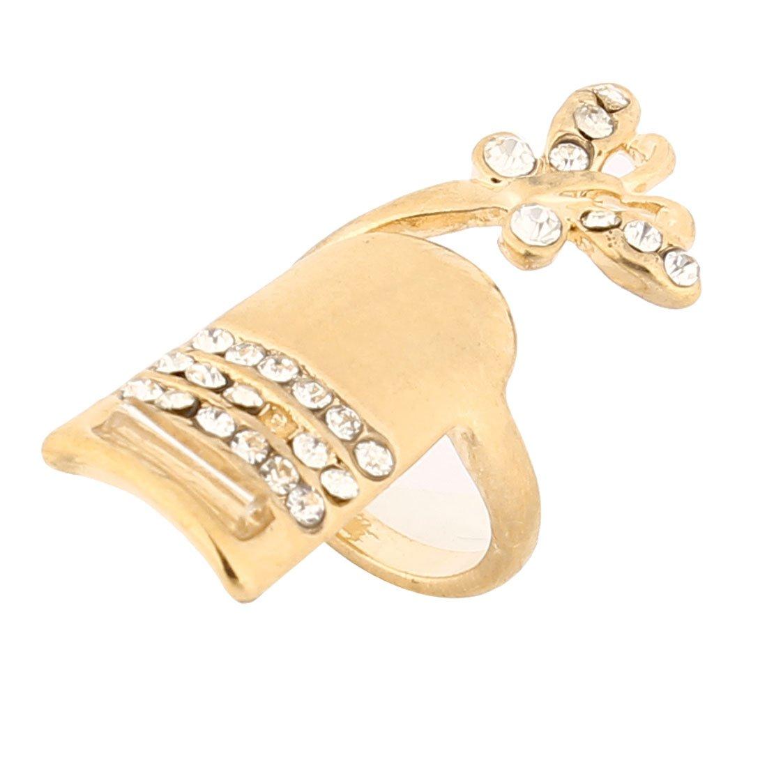 Dettaglio a farfalla con Sourcingmap-Art-Anello da dita, tonalità oro