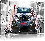 BMW X5 avec les filles, la peinture sur toile, énorme XXL Photos complètement encadrée avec civière, art impression sur murale avec cadre, moins cher que la peinture ou la peinture à l'huile, aucune affiche ou un poster taille: 120x80 cm