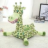 VERCART Sessel Schlafsofa Tier für Kinder In Outdoor Sitzsäcke Kissen Sofa Sofakissen Hocker Sitzkissen Bodenkissen mit Styropor Füllung Möbel 45cm Grün Giraffe
