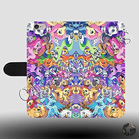 Unicorn Collage My Little Pony Cartoon Sticker Bomb Faux Leather Magnetic Clasp Holder Phone Case Cover for iPhone 5/5s