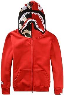 b1b61bb314b2 EmilyLe Homme Pull-Over à Capuche imprimé Camouflage et borderie Requin