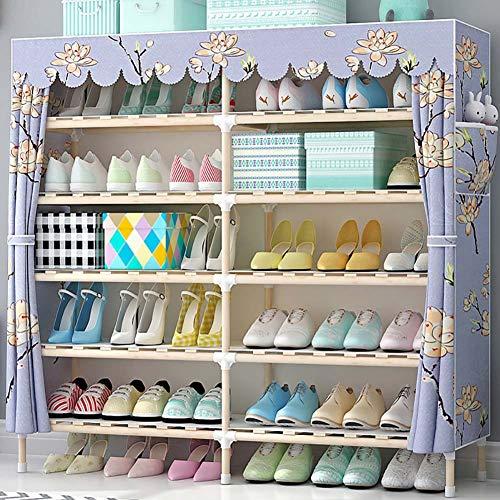 Scarpiera_armadio per scarpe in legno massello a doppia fila 6 strati 30 doppio strato, rack di stoccaggio antipolvere multistrato assemblato per uso domestico(scelte multiple)