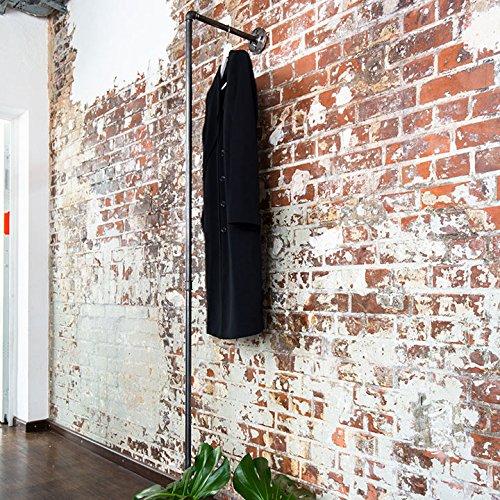 Various Kleiderständer Kleiderstange im Industrie-Design 33 x 195 cm - schöne Wand-Garderobe zum Aufhängen von Jacken, Mänteln - schwarz, aus Metall, stabil