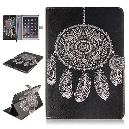 iPad Air 2 Funda,Careynoce Atrapasueños León Tigre Pattern Flip PU Cuero Carcasas Funda Case Cover para Apple iPad Air 2 iPad 6 (9.7 pulgada) - Negro Atrapasueños