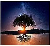 Baum des Lebens in der Dämmerung Sonnenlicht Wandteppich Schöne Sternenhimmel Wand Kunst Psychedelische Sternen Nacht Baum Tapisserie Böhmischen Mandala Tapisserie für Schlafzimmer Wohnheim Dekor