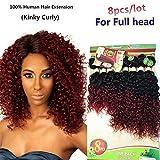Eunice Kinky Curly Cheveux De Tissages Extensions 8-14 Inch De Cheveux Humains Tissage Brésilien 8 Bundles Cheveux Extension Couleur Jerry Curly Hair
