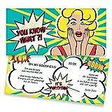 Einladungskarten zum Geburtstag im Retro Comic-Style | 40 Stück | Inkl. Druck Ihrer persönlichen Texte | Individuelle Einladungen | Vintage | Karte Einladung