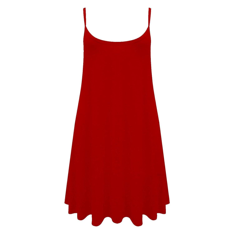 Ladies Women Long Cami Plain Strappy Swing Dress Vest Top Flared Print UK  8-26: Amazon.co.uk: Clothing