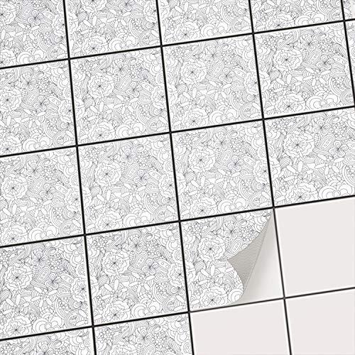 Fliesensticker - [ Fliesen Boden ] - Folie Sticker Aufkleber für Fliesen Boden - Bad oder Küche | Fliesenfolie als Alternative zu Fliesenfarbe | 15x15 cm - Design Creative Lines