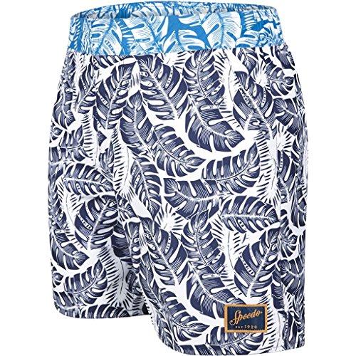 Speedo pour homme vintage imprimé Shorts Marine/Blanc