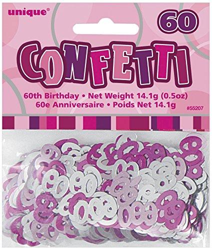 Unique party 55207 - rosa brillante coriandoli in foil per 60° compleanno